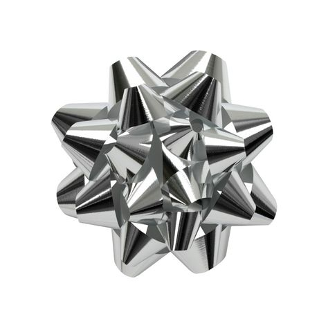 100 Metallic Silver Star Bows for Gift Wrapping Special Occasion Bow