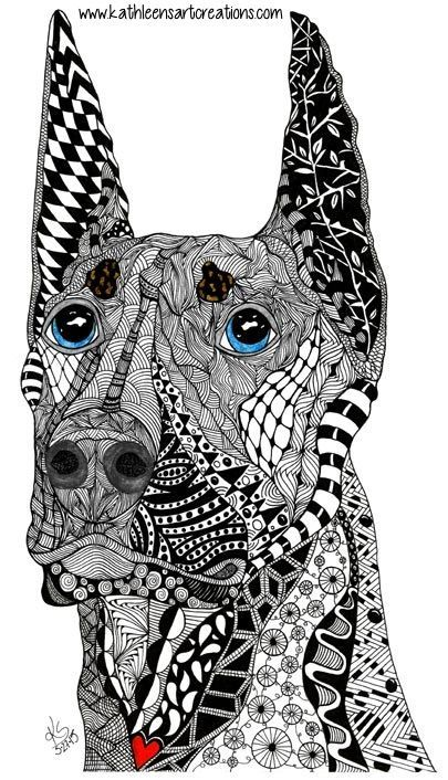 Whimsical Zentangle Inspired Design Named Kane The Doberman Pinscher Finished 5 27 15 Dedicated To J Sherman S Dog Wh Doberman Zentangle Animals Dog Art
