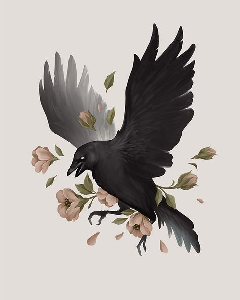 Raven Illustration with flowers - Procreate digital painting Crow Art, Raven Art, Animal Drawings, Art Drawings, Crows Drawing, Dessin Old School, Arte Black, Raven Tattoo, Aesthetic Art