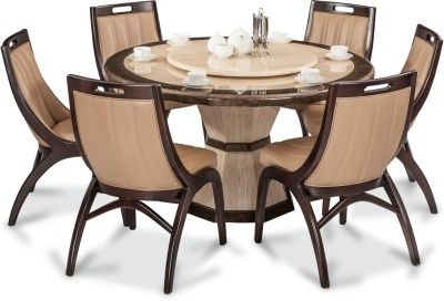 Durian Feng 35404 Stone 6 Seater Dining Set Finish Color Beige
