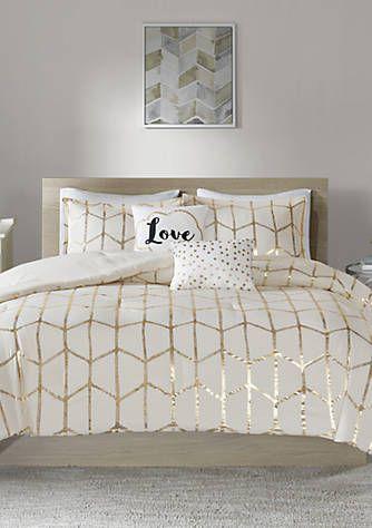 Intelligent Design Raina Ivory And Gold Comforter Set Gold Bedroom Decor Gold Bedroom White And Gold Bedding White and gold comforter sets