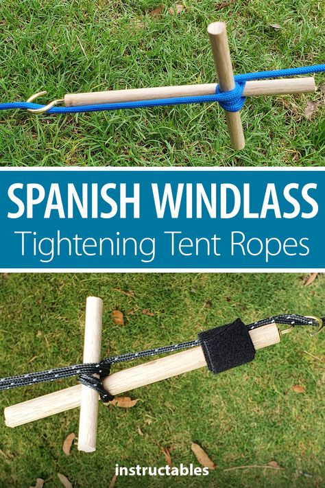 BevCanTech shares how to make and use a Spanish Windlass for tightening tent ropes. #Instructables #camping #outdoors #woodworking #workshop