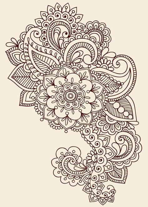 Illustration about Hand-Drawn Henna Mehndi Tattoo Flower Mandala Medallion Doodle Design with Border- Vector Illustration Design Elements. Illustration of embellishment, medallion, intricate - 14265867
