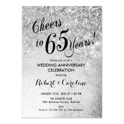 65th Wedding Anniversary Silver Invitation Zazzle Com Silver Invitation Wedding Anniversary Invitations Anniversary Invitations