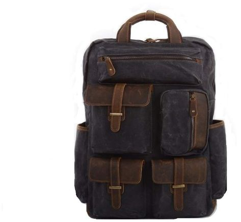 5125fb029a EAZO - Military Style Multi Pockets Waxed Canvas Backpack In Grey ...