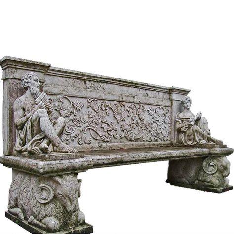 italian renaissance style white marble garden bench 19th century