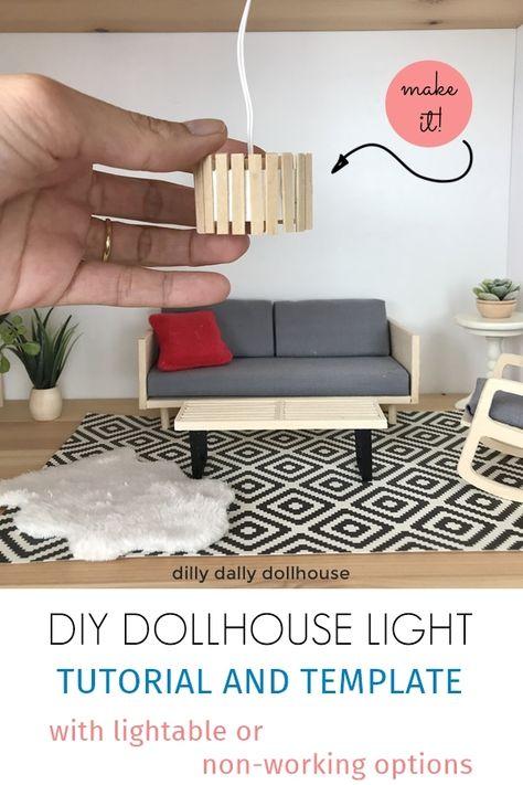 Tutorial on making a modern dollhouse ceiling light. Modern Dollhouse Furniture, Diy Barbie Furniture, Diy Furniture Cheap, Diy Furniture Hacks, Furniture Legs, Garden Furniture, Furniture Design, Kitchen Furniture, Miniature Furniture