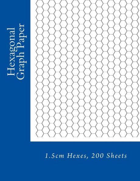Hexagonal Graph Paper: 1.5cm Hexes, 200 Sheets