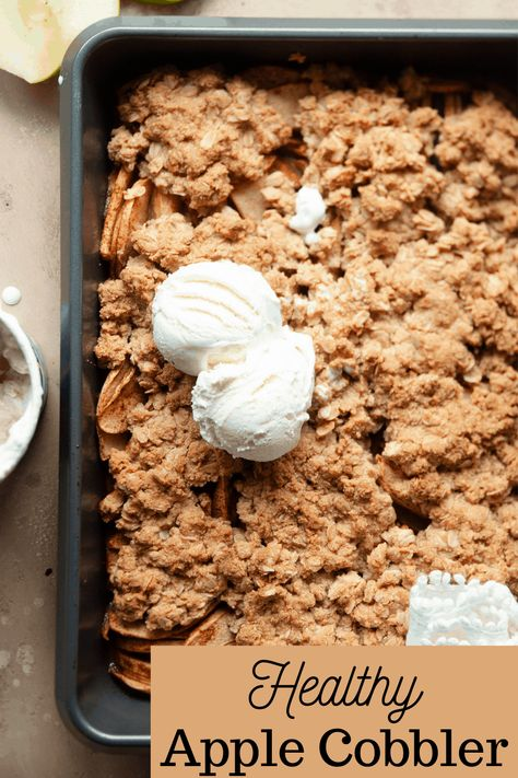 Healthy Apple Cobbler is easy to make from scratch and is the perfect for dessert! Made gluten-free and with no refined sugar, this dessert features fresh juicy apples and lots of naturally sweet flavor. Add a scoop of creamy vanilla ice cream on top, and you're set!