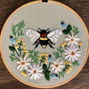 Handmade Embroidery Hoop Bee Embroidery Hoop Bee and Flowers Embroidery Hoop