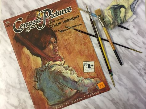 2 Art Books, How to Compose Pictures, How to Mix Colors, Walter Foster, Paint Lessons, Vintage Art Instruction Books