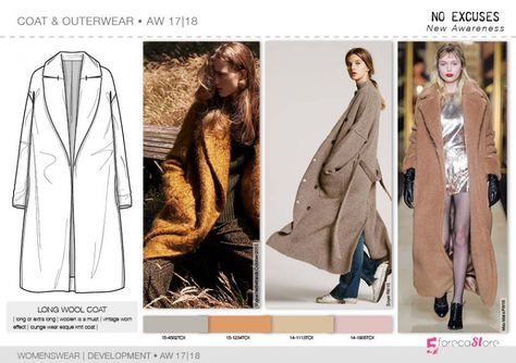 Coats & Outerwear flat drawings, vector technical sketches for Fall winter 2017-18 Trend forecasting by 5forecaStore