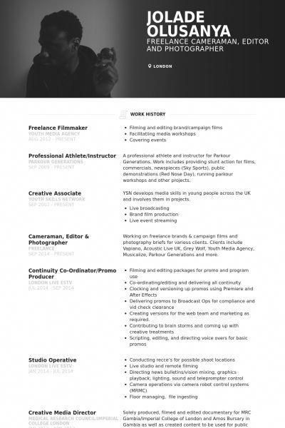 Freelance Film Maker Cameraman Editor Cv Freelancecopywriter Creative Cvs Freelance Writing Filmmaking