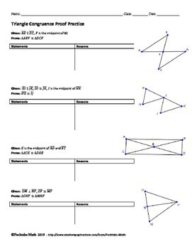 Triangle Congruence Proof Geometry Worksheet End Of Unit By Pecktabo Math Geometry Worksheets Geometry Proofs Geometry