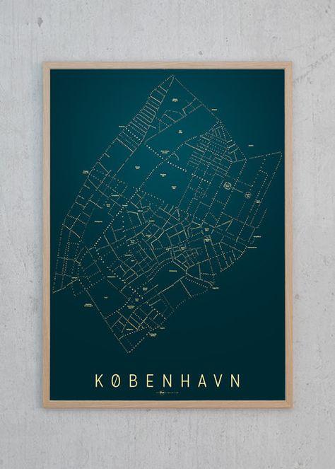 Indre Kobenhavn Kort Nat Poster Art Map