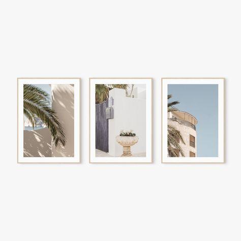 Set of 3 Print Wall Art Mediterranean Tropical Palm Leaf | Etsy