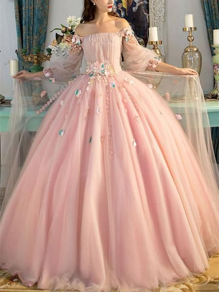 A Line Princess Blush Pink Fairy Tale Prom Dresses Floor Length