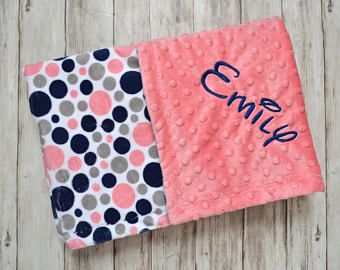 8d73aa1dc102d SALE Monogrammed Minky Baby Blanket - Navy Blue, Gray and Coral ...