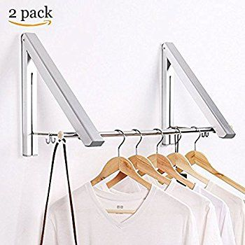 Srhome Indoor Outdoor Wall Mounted Folding Clothes Drying Rack Clothes Hanger Aluminum F Folding Clothes Drying Rack Drying Rack Laundry Clothes Hanger Rack