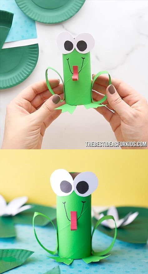 Toilet Paper Roll Frog - such a cute frog craft for kids!