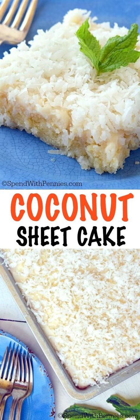 This Coconut Sheet Cake is easy to make andis loaded with delicious coconut flavor! This cake is the perfect potluck dish, it's extra moistwith a simpleand deliciousfrosting.