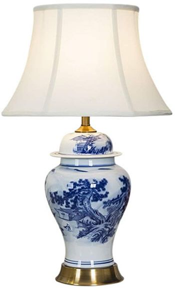 Chinese Farmer Landscape Blue And White Porcelain Table Lamp Blue White Chinoiserie Table Lamps Deep Discount Lightin Ceramic Table Lamps Lamp Table Lamp