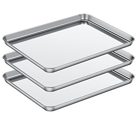 Baking Sheet Set Of 3 Asel Baking Pans 3 Pieces Stainless Steel Cookie Sheets Toaster Oven Tray Pans Non To Clean Dishwasher Easy Cleaning Toaster Oven