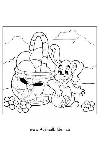 Ausmalbild Kleiner Osterhase Mit Korb Zum Ausmalen Ausmalbilder Malvorlagen Ostern Osterhase Kindergarten Os Osterhase Ausmalen Ausmalbilder