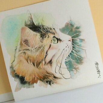 Isabelle On Instagram Aquarelle Chat Roux Cat Watercolor En