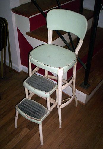 Metal Chairs Kitchen Step Stool, Antique Kitchen Step Stool Chair