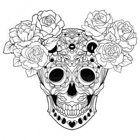 Calavera De Azucar Con Patron Decorativo Y Una Corona De Rosas