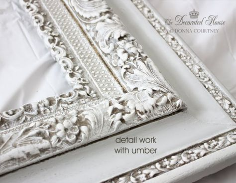 The Decorated House, Old frame given a new life with Annie Sloan chalk paint in Paris Grey. How to antique glaze tutorial.  shabby chic style