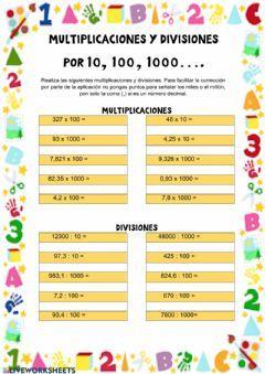 Multiplicaciones Y Divisiones Por 10 100 1000 Idioma Español O Castellano Curso Nive Multiplicacion Multiplos Y Divisores Juegos Didacticos De Matematicas