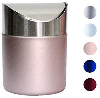 Mini Trash Can With Lid Brushed Stainless Steel Small Tiny Mini