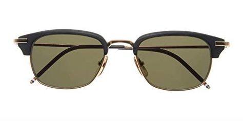c60bd60b56 THOM BROWNE TB-707-A-T-BLK-GLD-50-Z Sunglasses Matte Black-RWB – Shiny 12K  Gold G15-AR 50mm