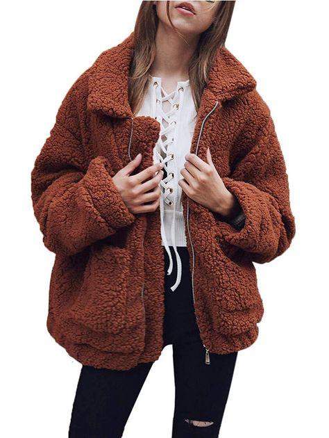 Fluffy Warm Women Coat, Coffee / Small