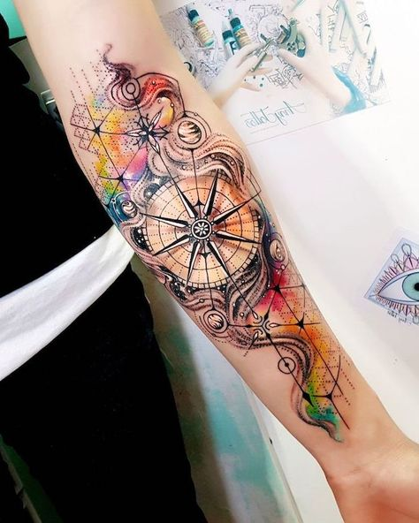 watercolor flower tattoo, colorful compass, forearm tattoo