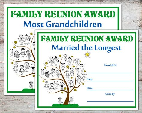 Family Reunion Ideas >> Family Reunion Awards Family Reunion Certificates Family