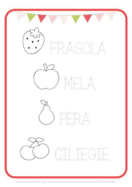 Scheda Pregrafismo Frutta Stampabili Prescolari Esercizio Per Bambini Attivita Di Apprendimento In Eta Prescolastica