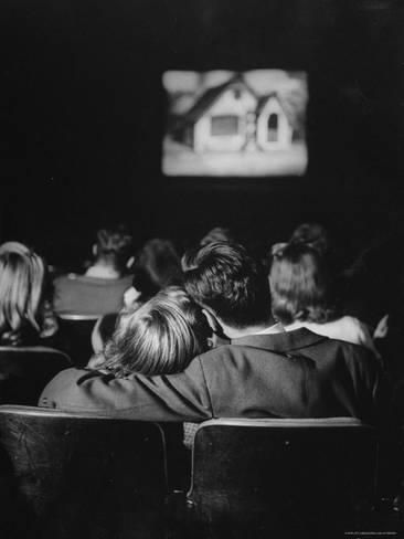 """Invention of Teenagers: LIFE and the Triumph of Youth Culture Teenagers """"necking"""" in a movie theater. Location: Webster Groves, MO, US Date taken: December 1944 Photographer: Nina Leen Bon Film, Fotos Goals, Movie Dates, Youth Culture, Zooey Deschanel, Photo Essay, Hopeless Romantic, Movie Theater, Black And White Photography"""