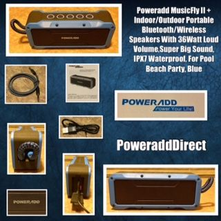 Indoor//Outdoor Portable Bluetooth//Wireless Speakers With Poweradd Musicfly Ii