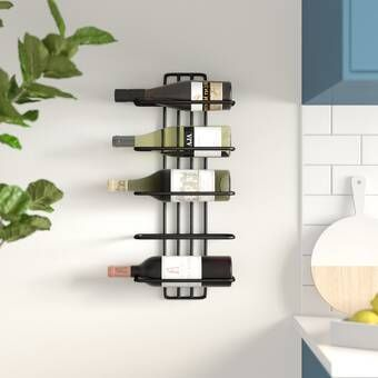 Bernon 5 Bottle Wall Mounted Wine Bottle And Glass Rack In 2021 Metal Wine Rack Bottle Wall Bottle Rack