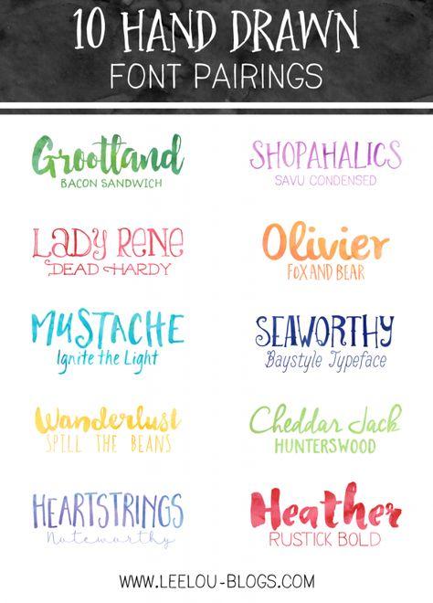 10 Hand Drawn Font Pairings