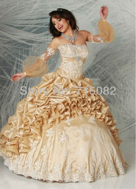 f98fadeb9c5 Chinese Luxury Custom Yellow Taffeta White Applique Ruched Lace Hem Quinceanera  Dress Lace up Free Shipping  208.00