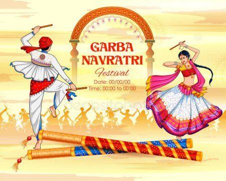 Couple Playing Dandiya In Disco Garba Night Banner Poster For