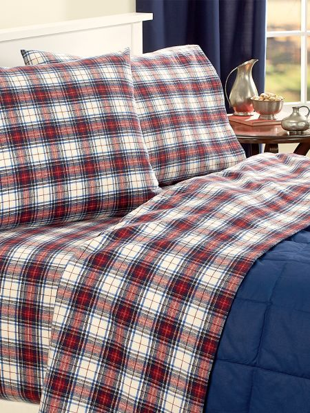 Portuguese Cotton Flannel Yarn Dyed Plaid Sheet Set Plaid Sheets Plaid Sheets Bedding Flannel Bedding