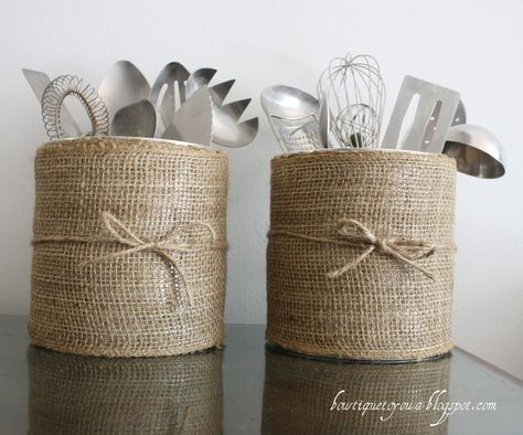 burlap up-do coffee container