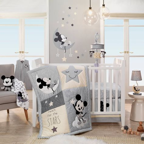 Disney Baby Mickey Mouse Gray 4 Piece Crib Bedding Set Lambs & Ivy - Nursery Bedding - Ideas of Nursery Bedding - Disney Baby Mickey Mouse Gray 4 Piece Crib Bedding Set Lambs & Ivy Price :