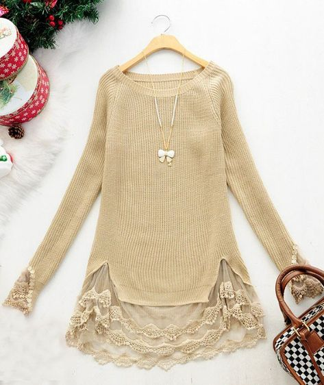 Beige Long Sleeve Contrast Lace Pullovers Sweater $42