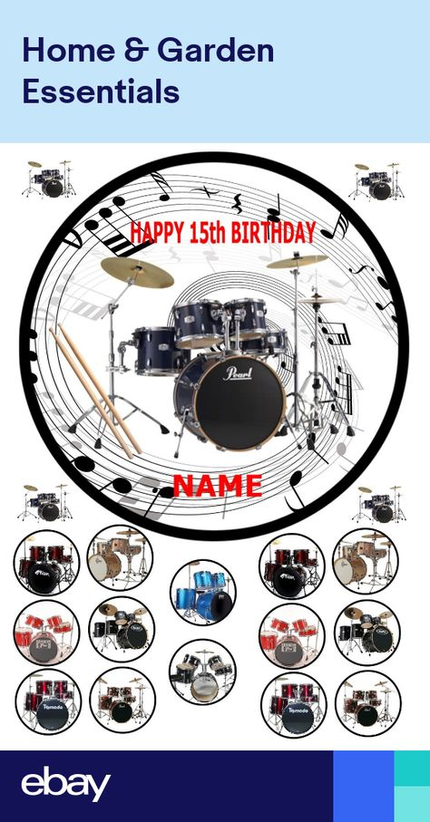 8 EDIBLE  ICING FROSTING CAKE TOPPER DRUM KIT PERSONALISED ROUND 7.5